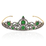 Bridal Hair Accessories 7.6 Ct Natural Certified Diamond Emerald 925 Sterling Silver Head Pieces